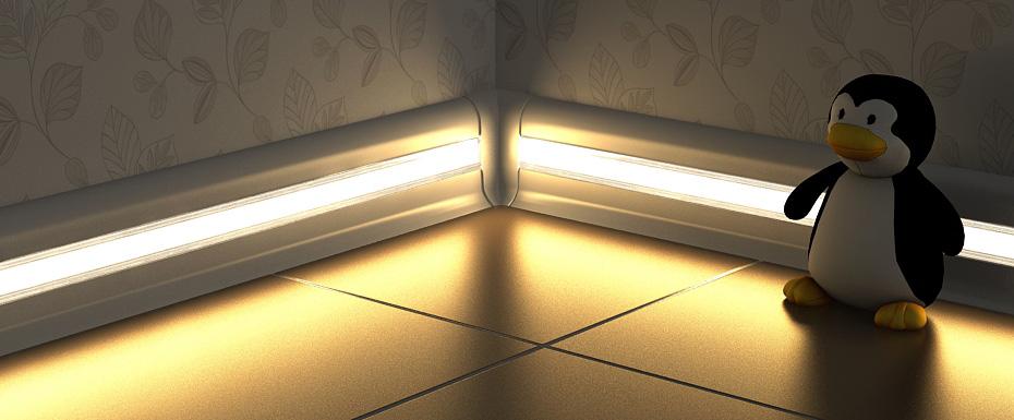 Подсветка в плинтусе пола